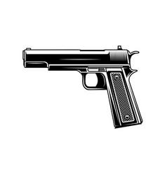 handgun in vintage monochrome style design vector image