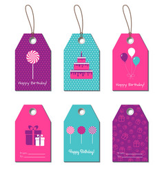 Happy Birthday gift tags vector