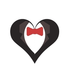 happy groom heart icon vector image
