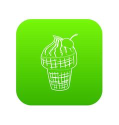 ice cream icon green vector image