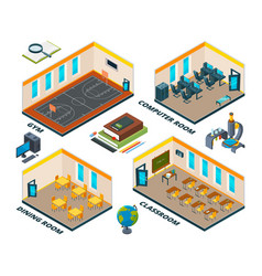 isometric school interior building with various vector image