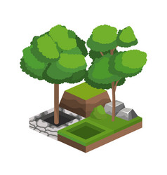Isometric trees design vector