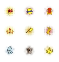 knight icons set pop-art style vector image