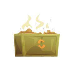 Large khaki and orange dumpster full rubbish vector