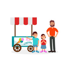 little kids asking his father to buy ice cream vector image