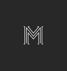 Logo m letter medieval with old serif old vector