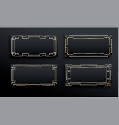 luxury gold black art deco frame background set vector image
