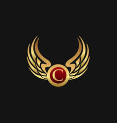 Luxury letter c emblem wings logo design concept vector