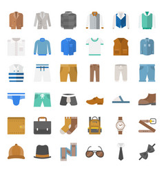 Male clothes and accessories flat icon set 1 vector