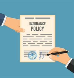 man signs insurance policy vector image