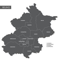 Map beijing district vector