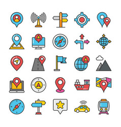 maps and navigation colored icons set 2 vector image