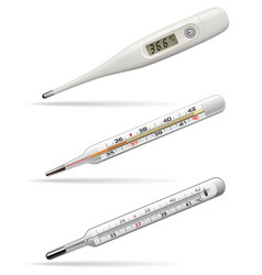 Medical thermometers digital alcohol and mercury vector