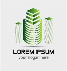 Modern building 3d logo concept vector