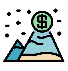 Money grow mountains icon color outline vector