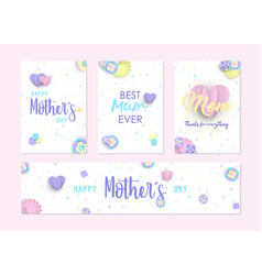 Mother day cute label and greeting card set vector