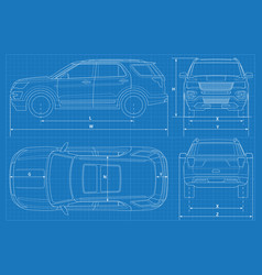 Off-road car schematic or suv car blueprint vector