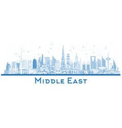Outline middle east city skyline with blue vector