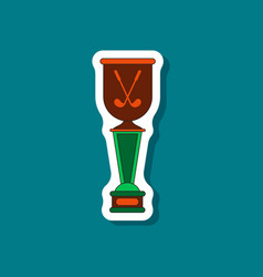 Paper sticker on stylish background golf cup vector