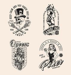 Poker game vintage monochrome labels vector
