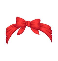 Retro headband for woman red bandana for vector