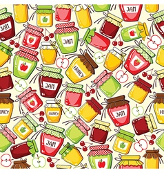 Seamless pattern with canned jar vector image