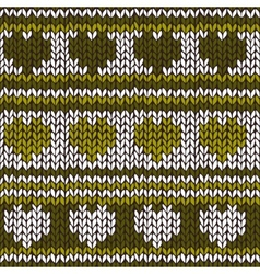 Seamless pattern with knitted hearts and stripes vector image