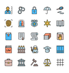 set justice flat color icons criminal vector image