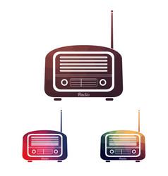 set multicolors vintage radio vector image