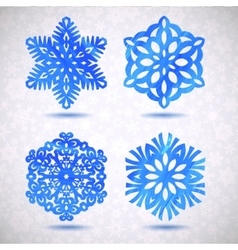 Set of watercolor snowflakes Merry vector