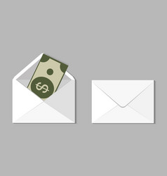 set two blank envelope with money an envelope vector image