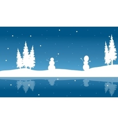Silhouette of christmas snowman and reflection vector