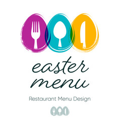 simple restaurant easter menu design with cutlery vector image