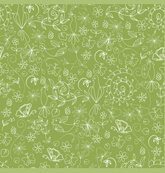 sketch summer organic seamless pattern vector image