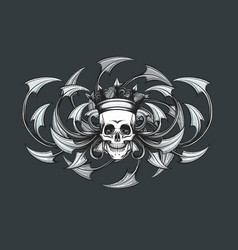Skull with crown engraving emblem vector