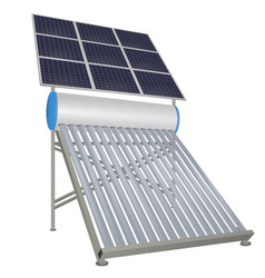 Solar pipes heater with solar panels vector