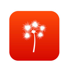 Spiny tropical palm tree icon digital red vector