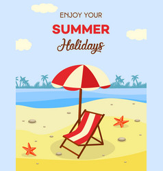summer beach vacation with lounge and umbrella on vector image