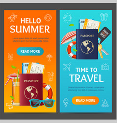 summer travel and tourism service banner vecrtical vector image