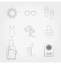 Summer travel and vacation icons set vector