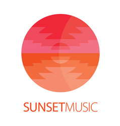 Sunset music logo poster vector