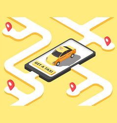 Taxi concept isometric yellow car cab riding for vector