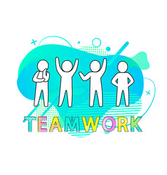 Teamwork people working together coworkers vector