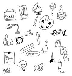Tools education doodle set vector