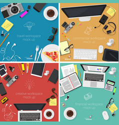 Top view desktop mock up set vector
