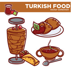 turkish food cuisine dishes flat icons for vector image