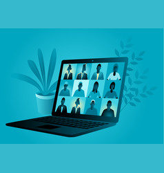 video conference application with group people vector image