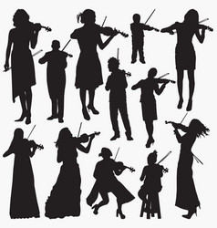 violinist silhouettes vector image