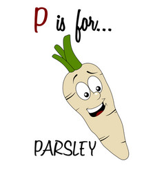 vocabulary worksheet card with cartoon parsley vector image