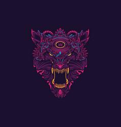 werewolf head logo vector image